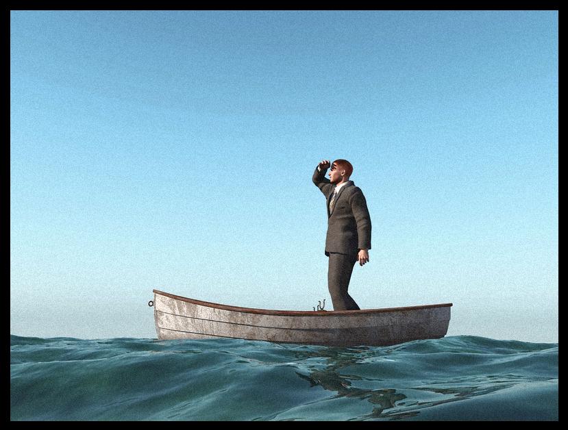 man alone in boat